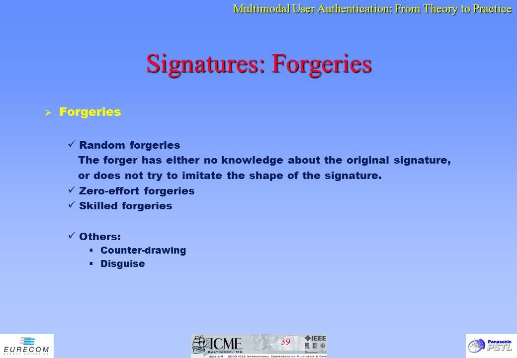 Signatures: Forgeries