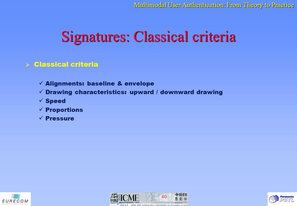 Signatures: Classical criteria