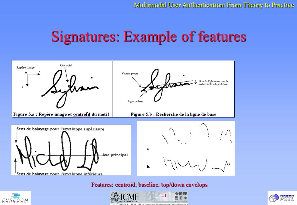 Signatures: Example of features