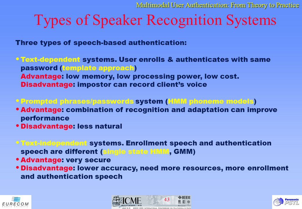 Types of Speaker Recognition Systems