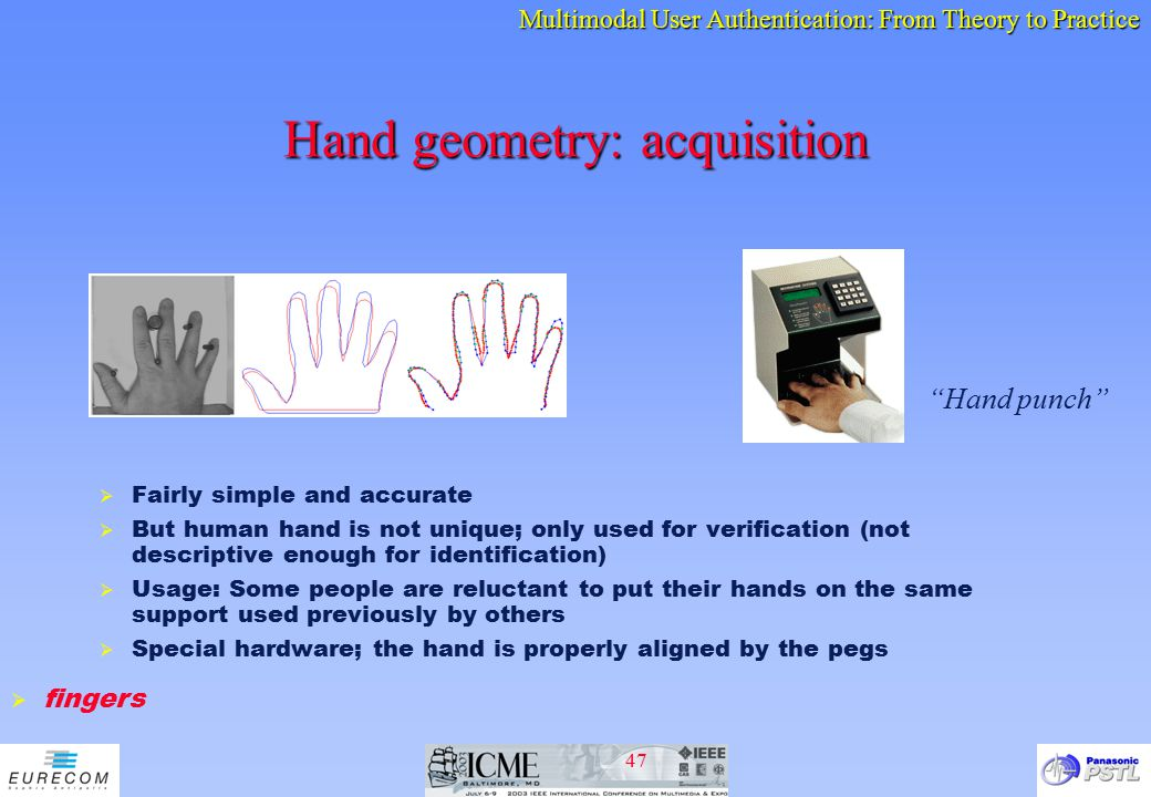 Hand geometry: acquisition