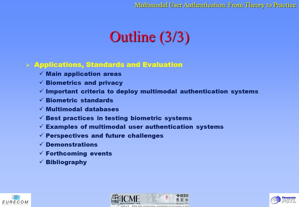 Outline (3/3) Applications, Standards and Evaluation