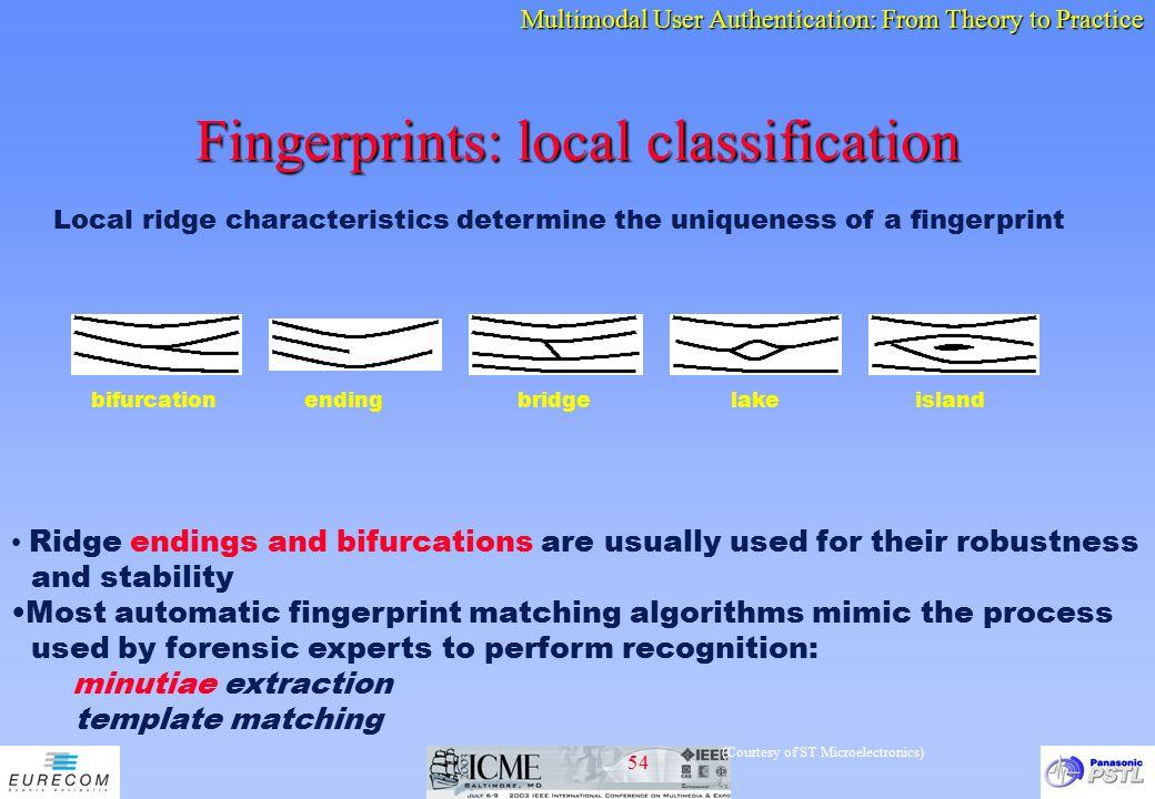 Fingerprints: local classification