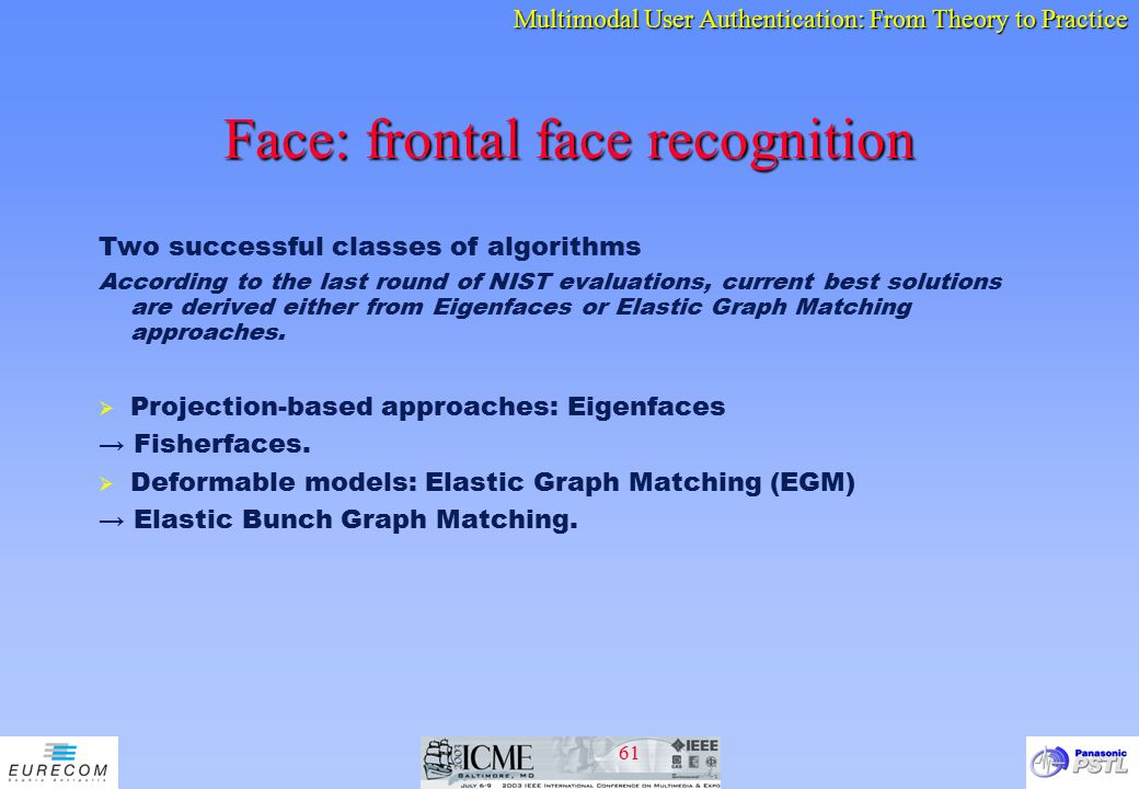 Face: frontal face recognition