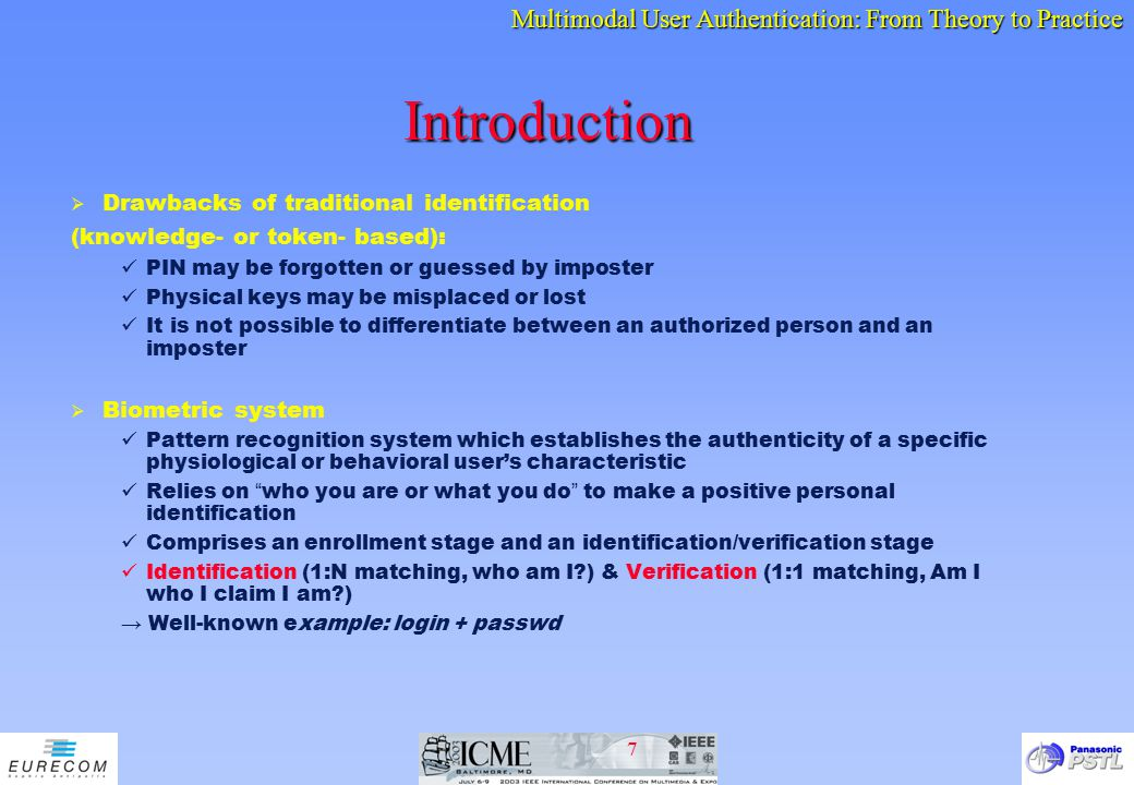 Introduction Drawbacks of traditional identification