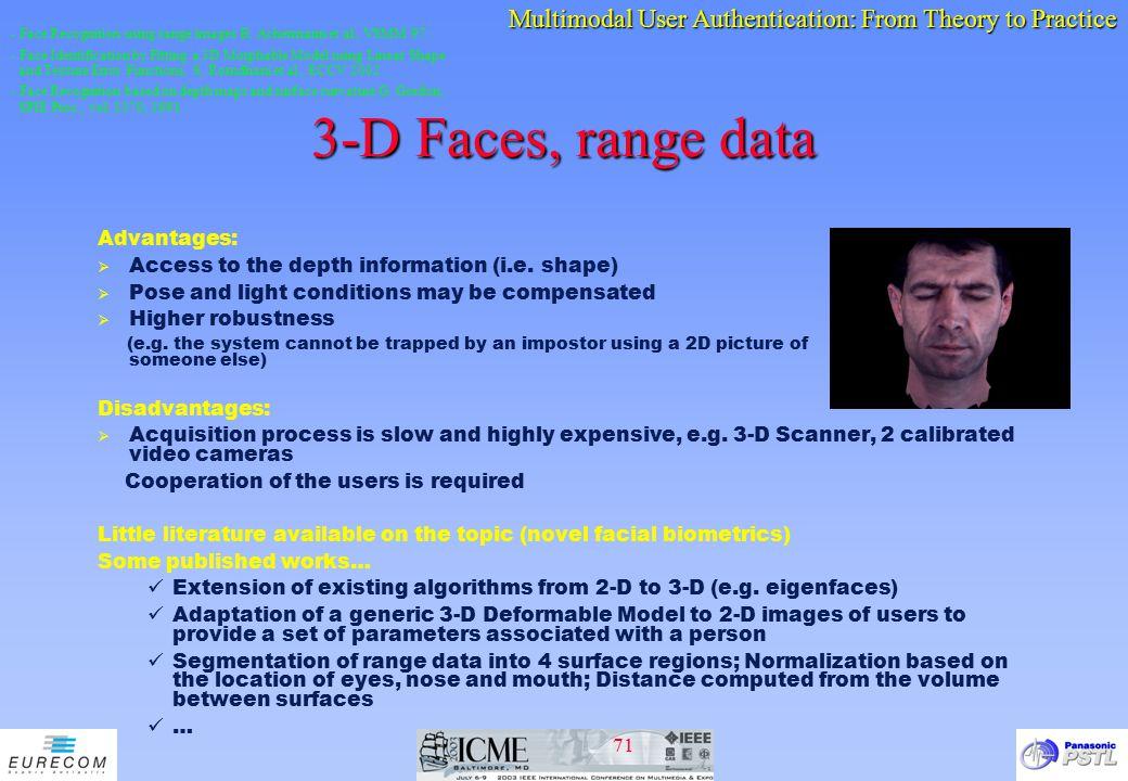 3-D Faces, range data Advantages: