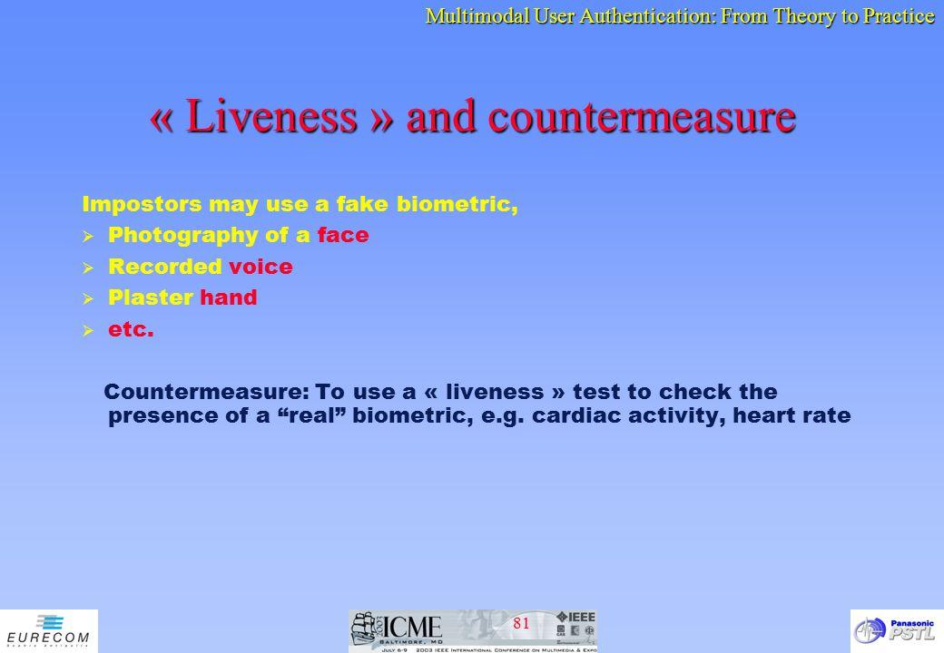 « Liveness » and countermeasure