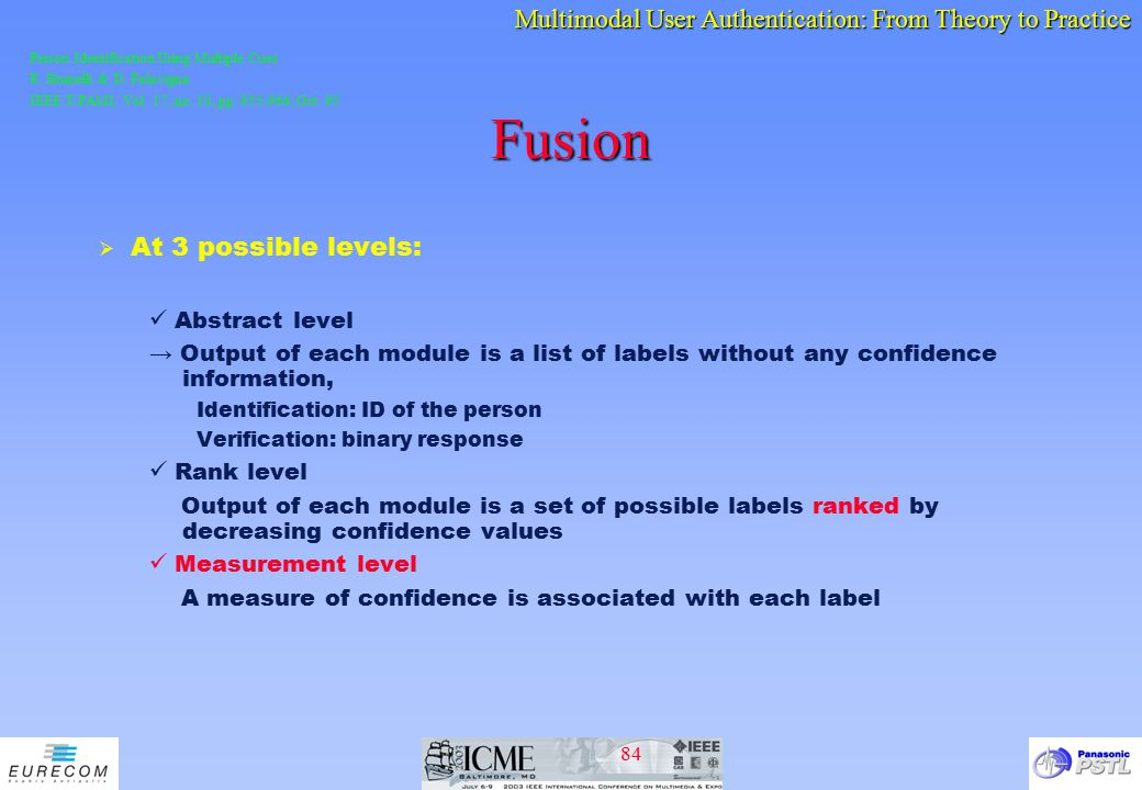 Fusion At 3 possible levels: Abstract level