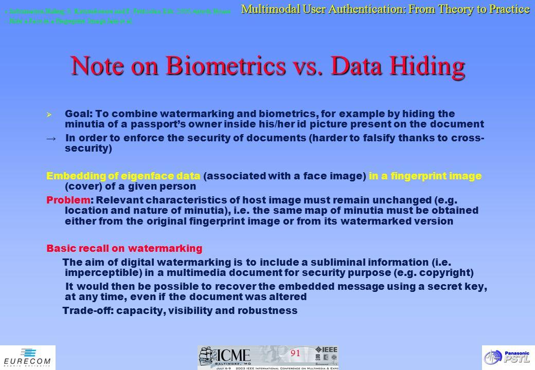 Note on Biometrics vs. Data Hiding