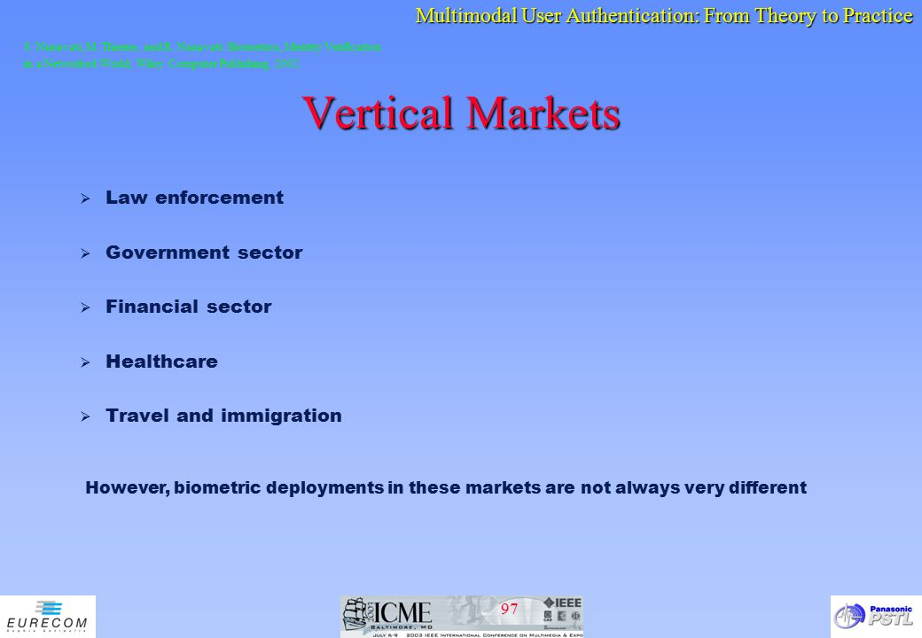 Vertical Markets Law enforcement Government sector Financial sector