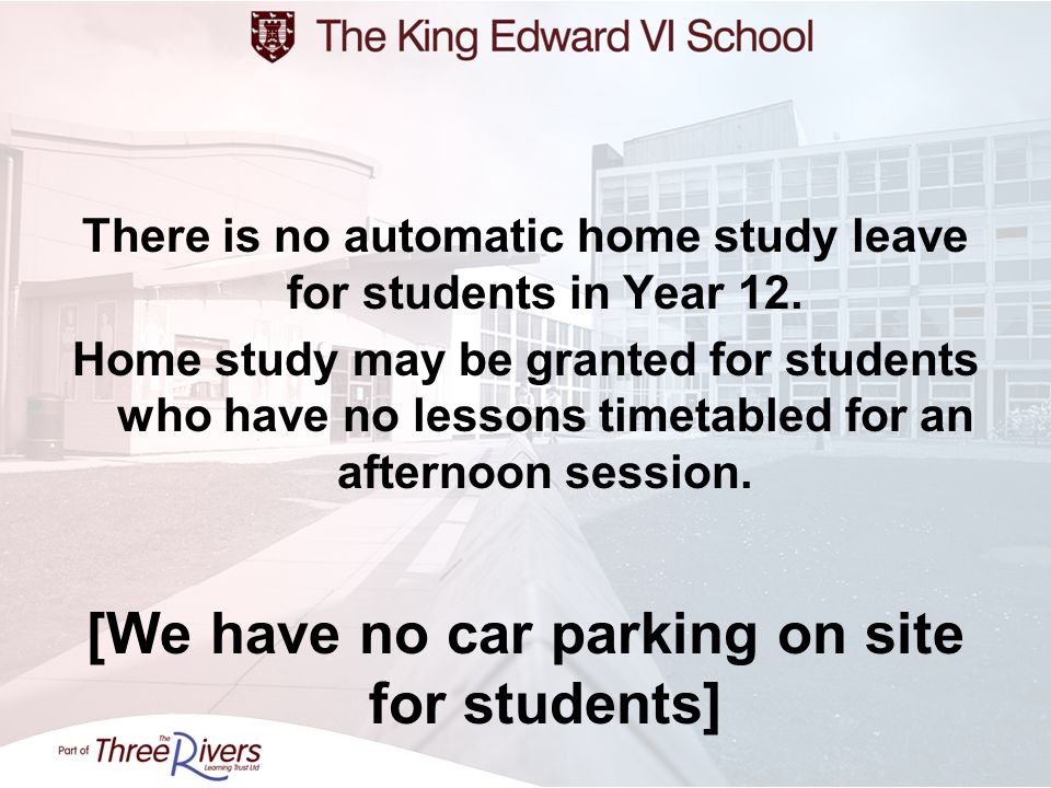 [We have no car parking on site for students]