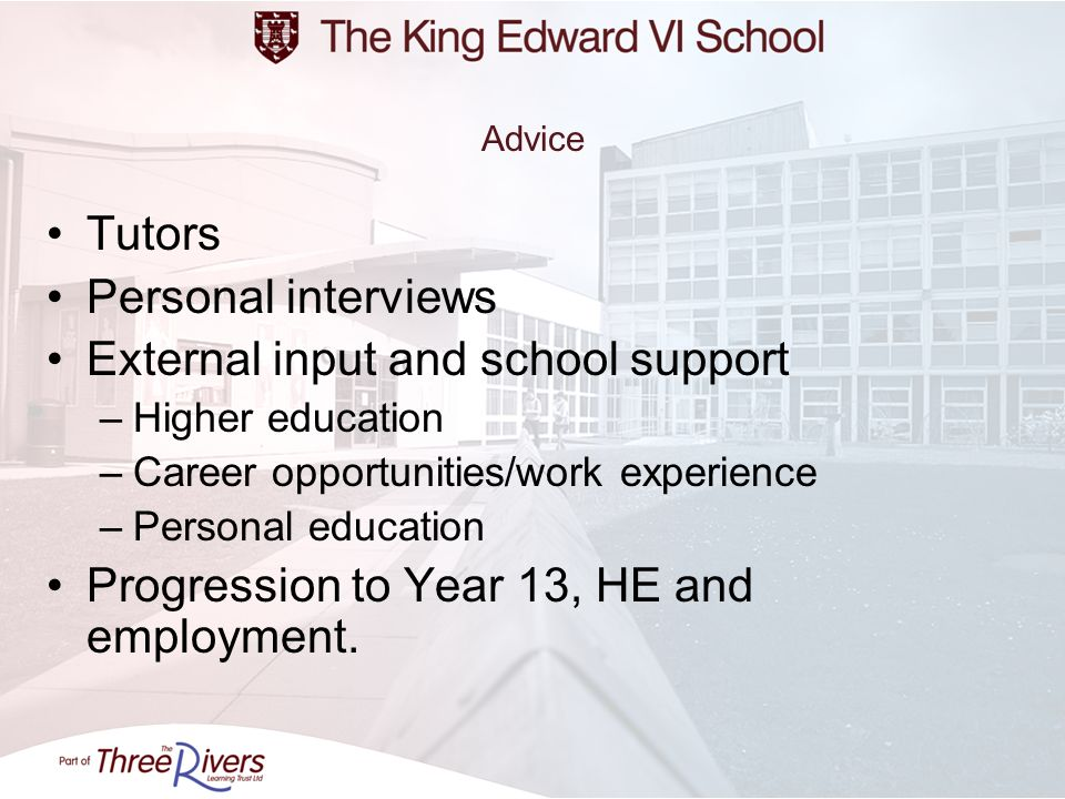 External input and school support
