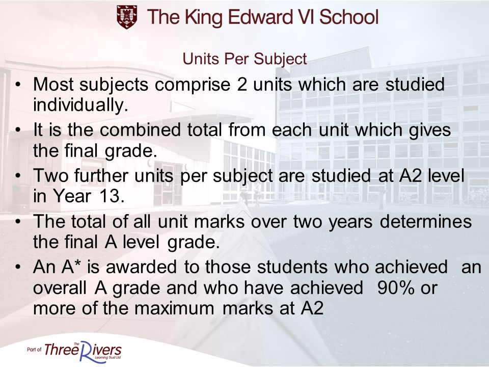 Most subjects comprise 2 units which are studied individually.
