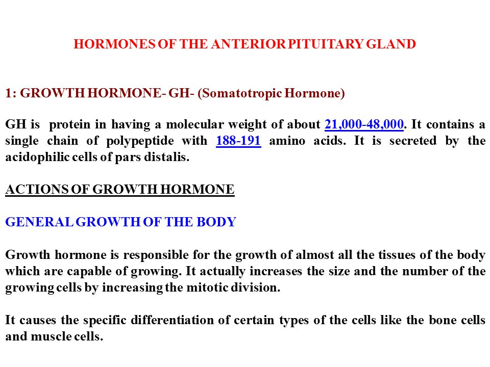 HORMONES OF THE ANTERIOR PITUITARY GLAND