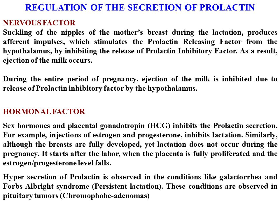 REGULATION OF THE SECRETION OF PROLACTIN