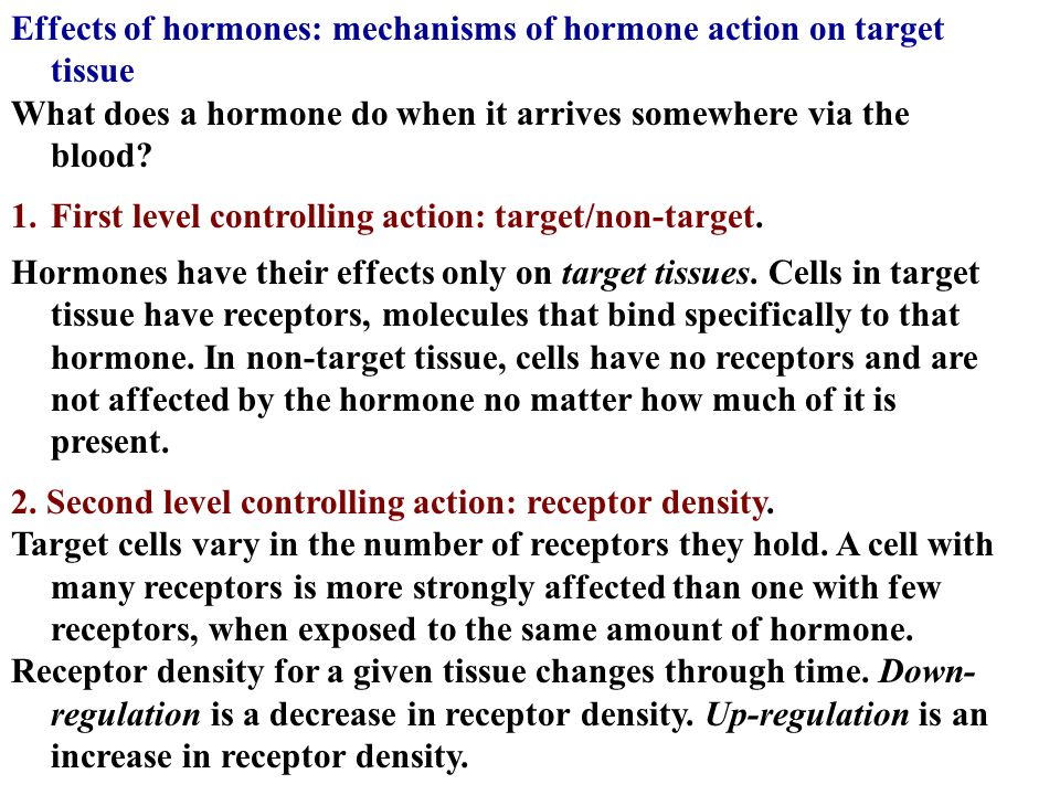 Effects of hormones: mechanisms of hormone action on target tissue