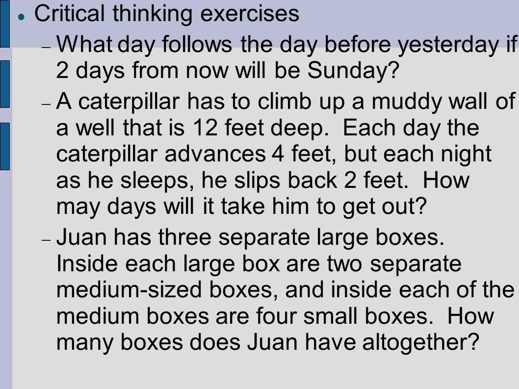 critical thinking exercise 3