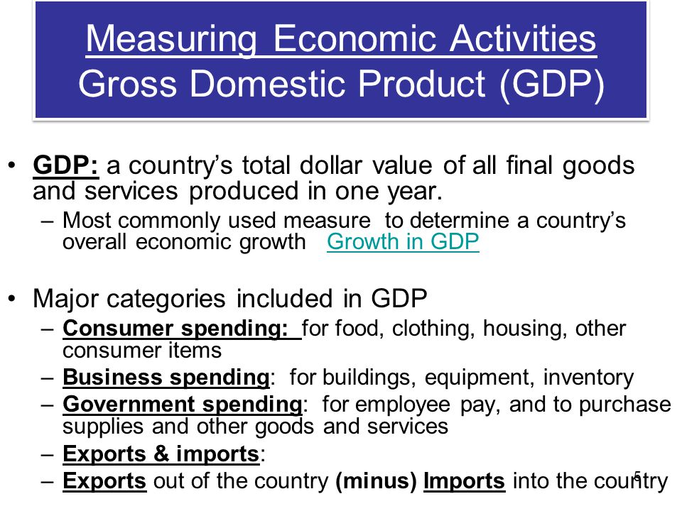 Measuring Economic Activities Gross Domestic Product (GDP)