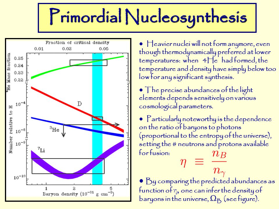 primordial nucleosynthesis Stellar nucleosynthesis  are primordial or mainly so—outcomes of the first three minutes of the big-bang the other light nuclei 6li, 9be, 10b,.