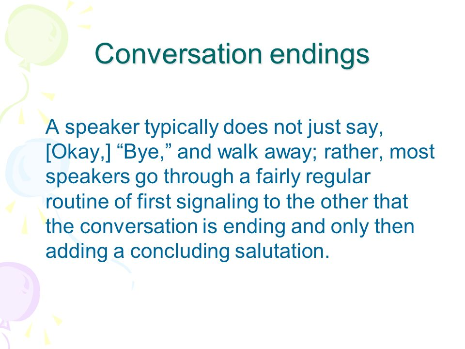 Conversation endings
