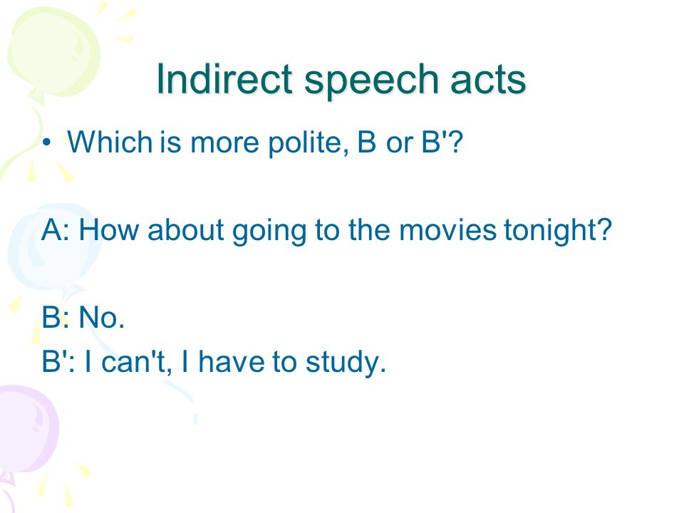 Indirect speech acts Which is more polite, B or B