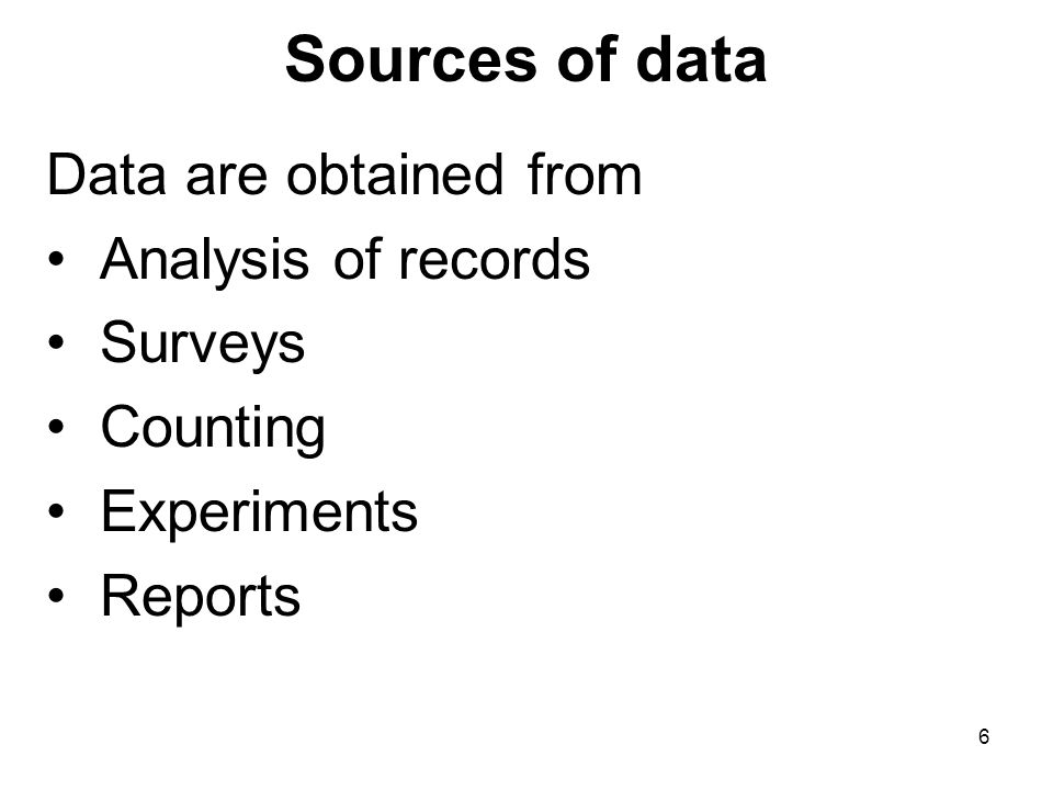 Sources of data Data are obtained from Analysis of records Surveys