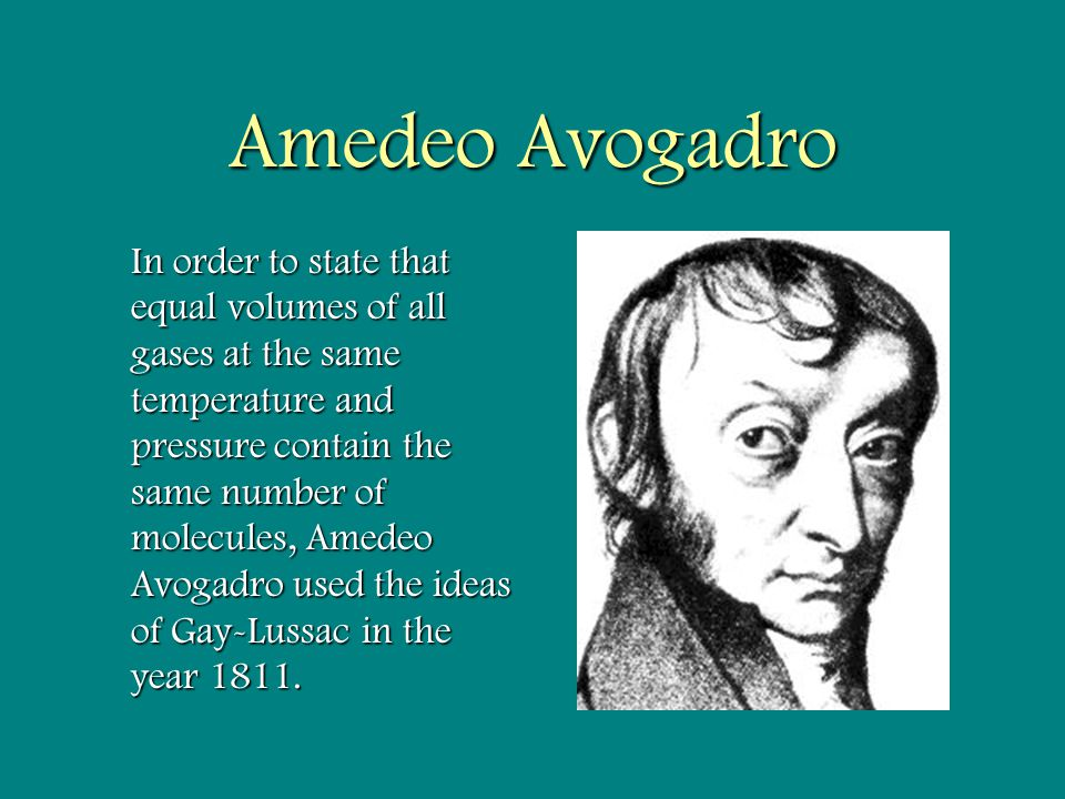 amedeo avogadro In 1811 amedeo avogadro hypothesized that equal volumes of gases at the  same temperature and pressure contain equal numbers of molecules from this.