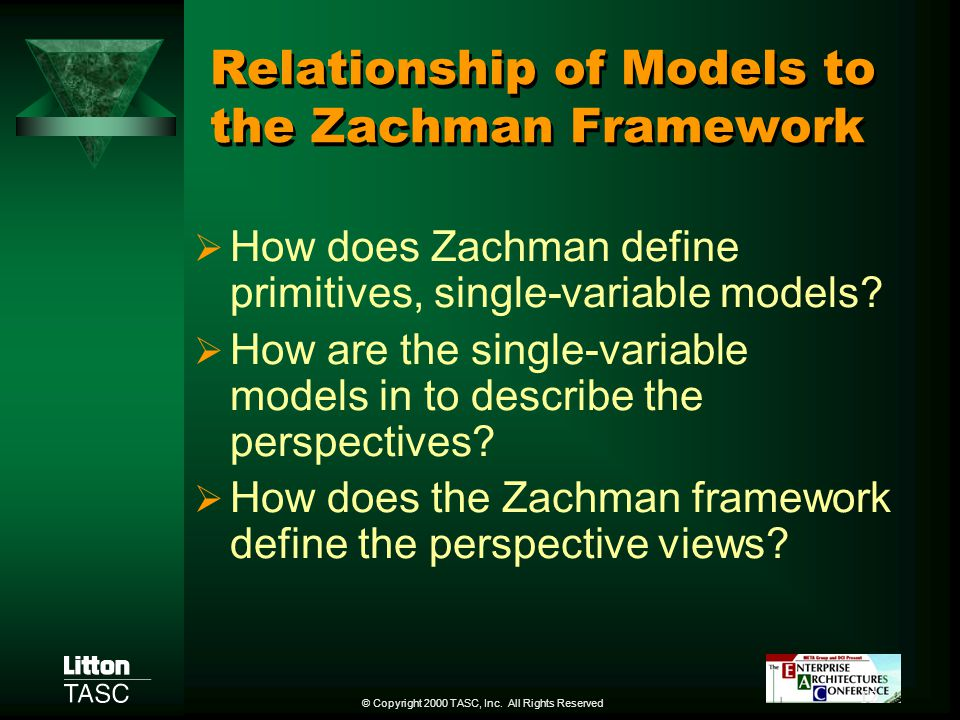 Relationship of Models to the Zachman Framework