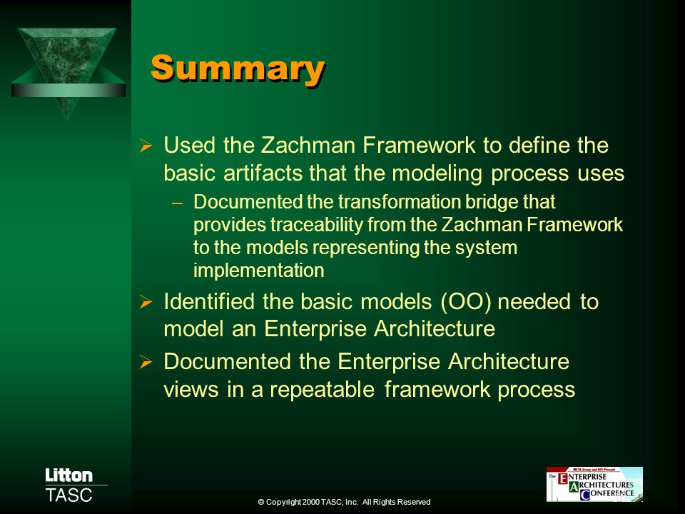 Summary Used the Zachman Framework to define the basic artifacts that the modeling process uses.