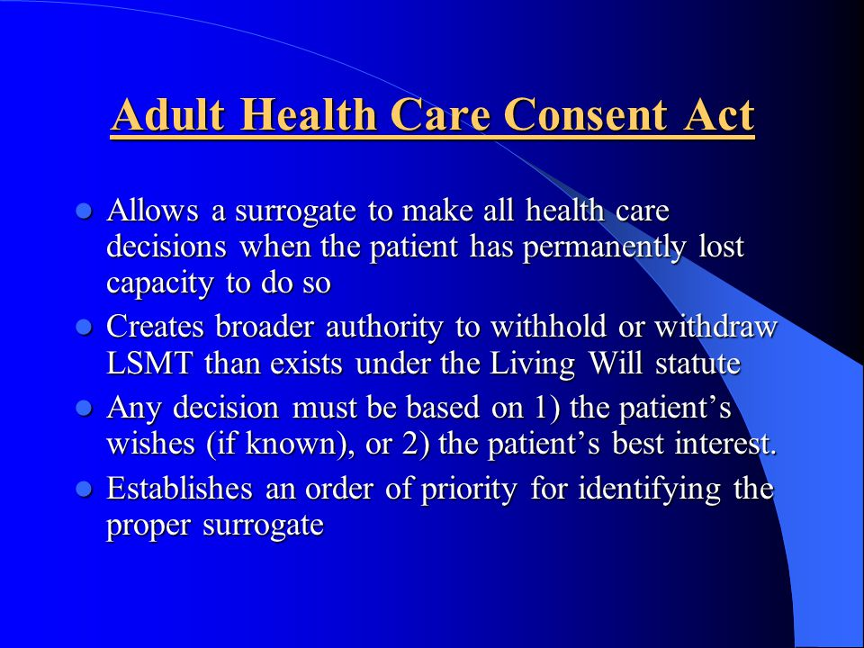Adult Health Care Consent Act