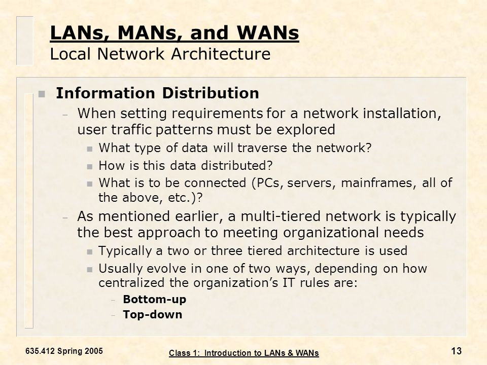LANs, MANs, and WANs Local Network Architecture