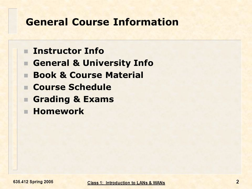 General Course Information