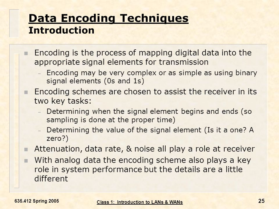 Data Encoding Techniques Introduction