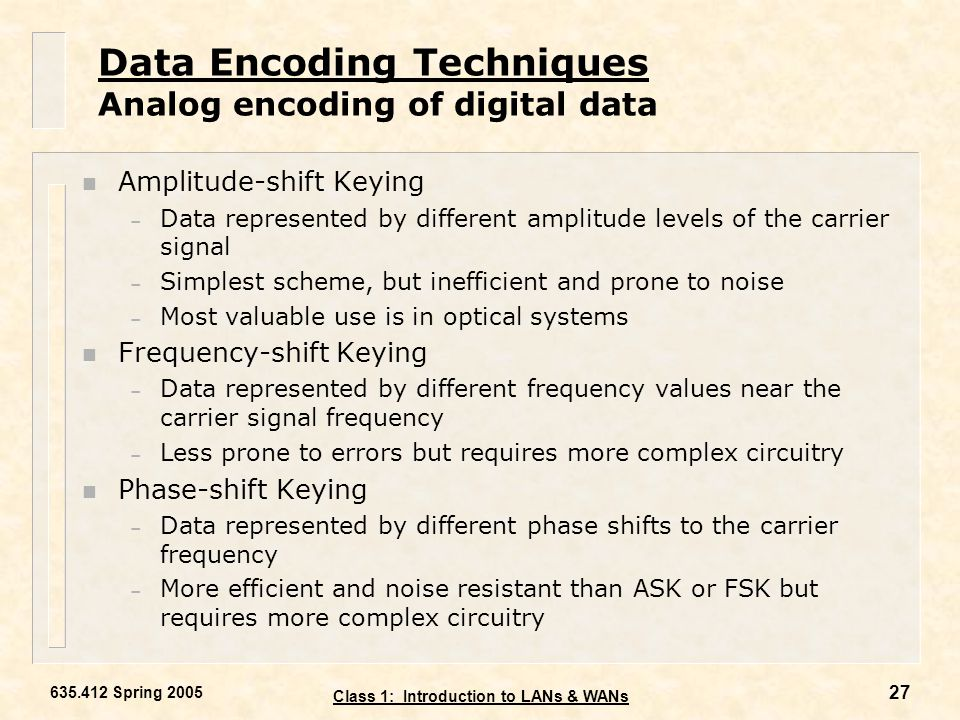 Data Encoding Techniques Analog encoding of digital data
