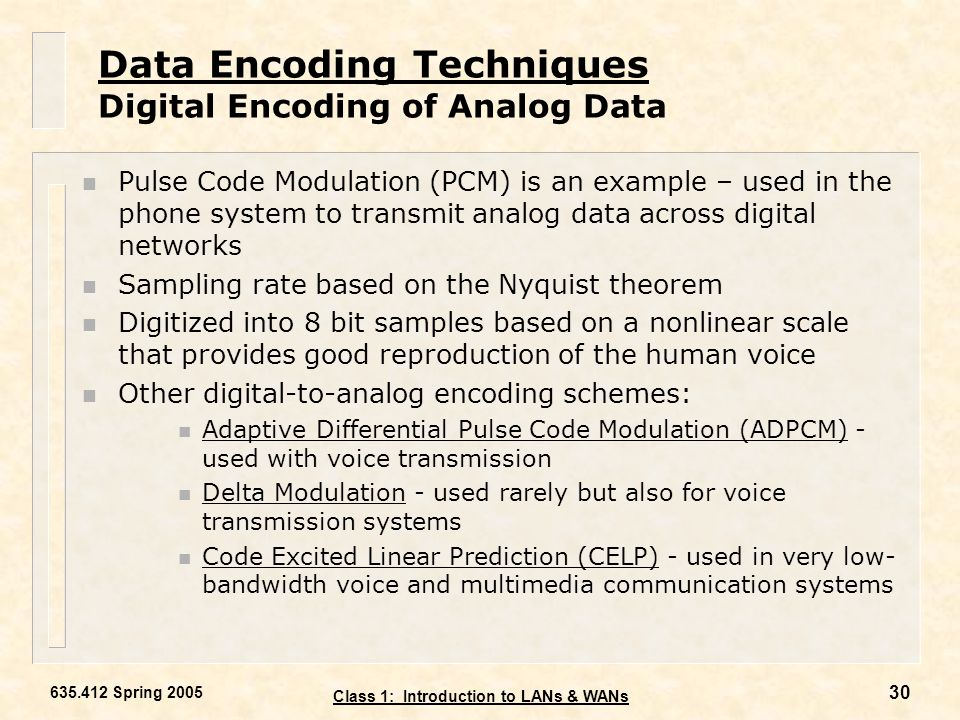 Data Encoding Techniques Digital Encoding of Analog Data