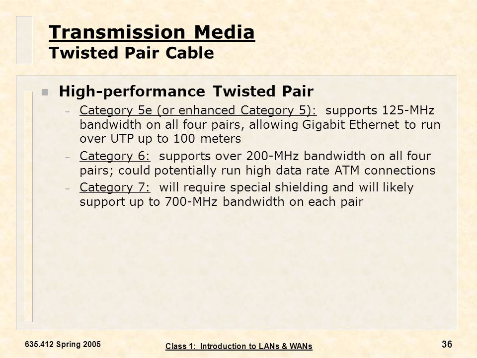 Transmission Media Twisted Pair Cable