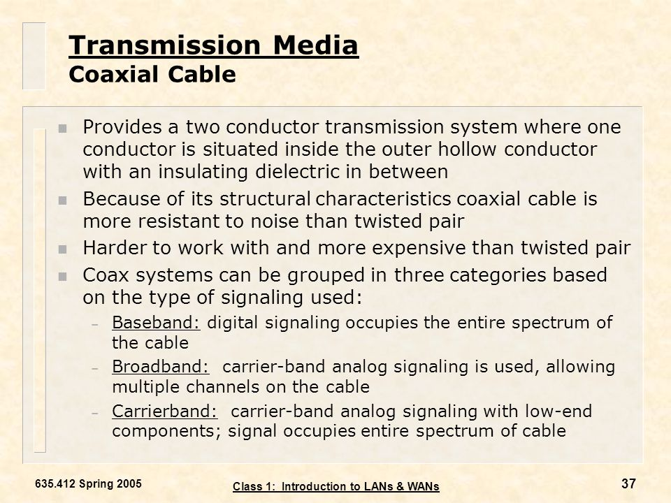 Transmission Media Coaxial Cable