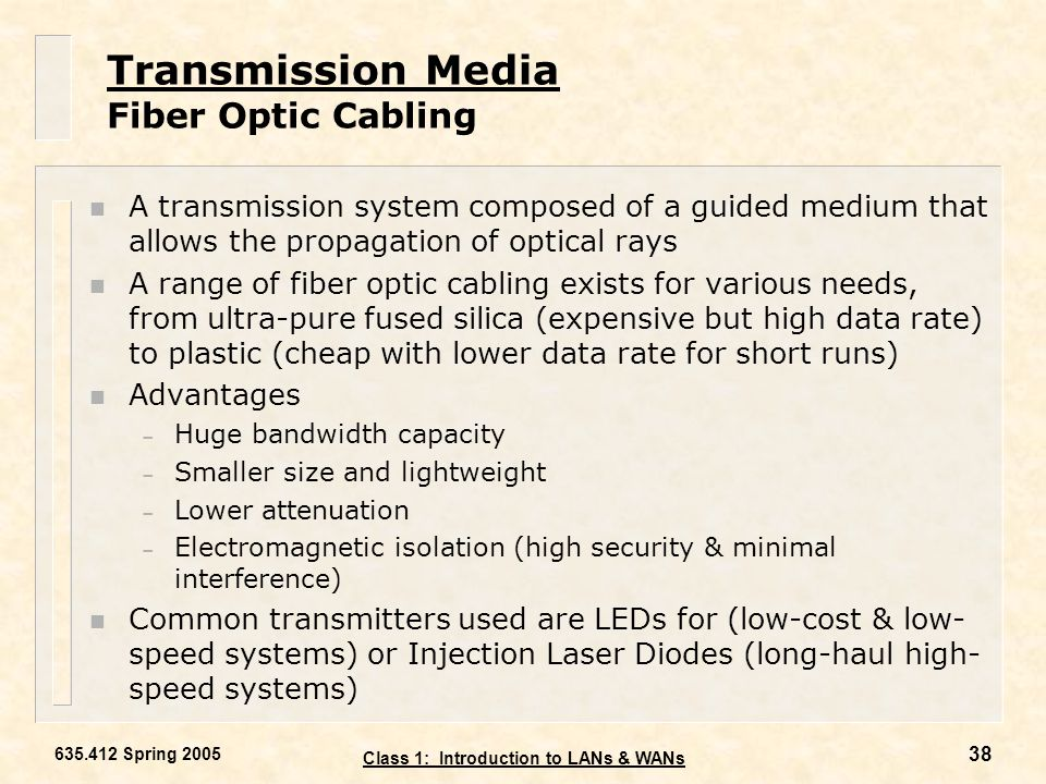Transmission Media Fiber Optic Cabling