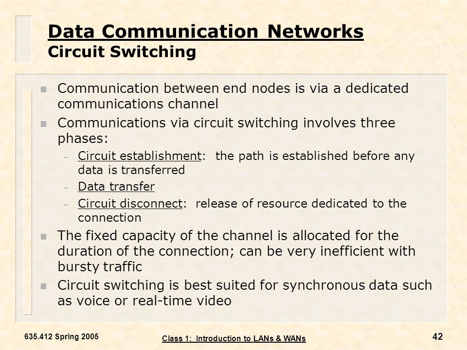 Data Communication Networks Circuit Switching