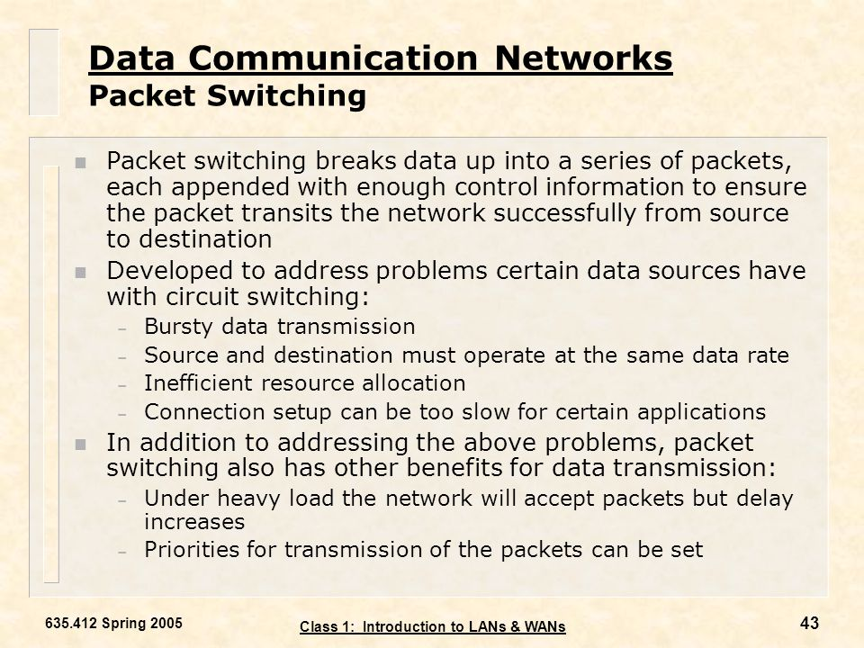 Data Communication Networks Packet Switching