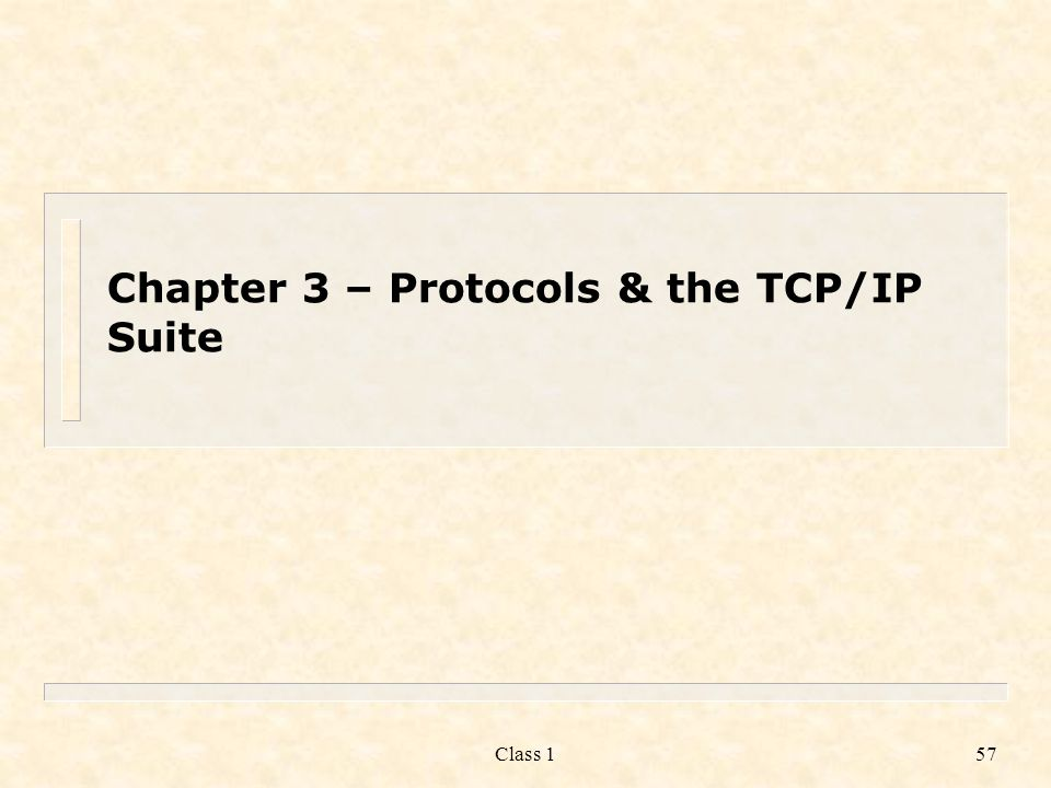 Chapter 3 – Protocols & the TCP/IP Suite