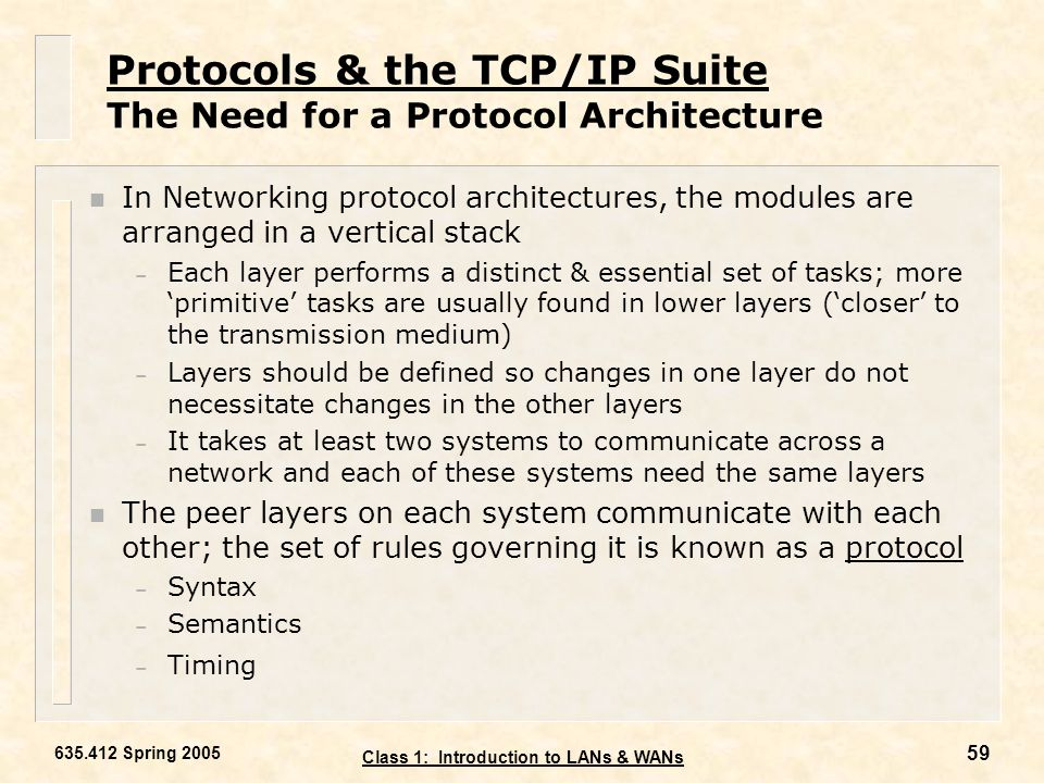 Protocols & the TCP/IP Suite The Need for a Protocol Architecture