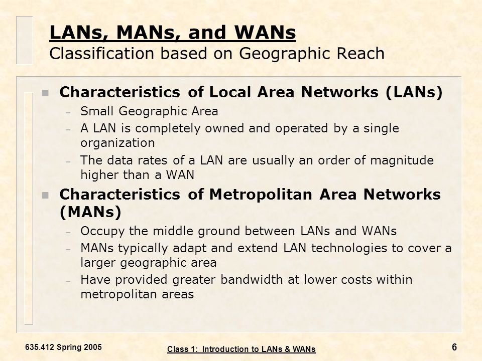 LANs, MANs, and WANs Classification based on Geographic Reach