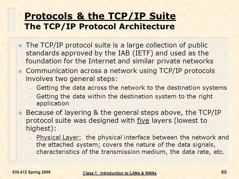 Protocols & the TCP/IP Suite The TCP/IP Protocol Architecture