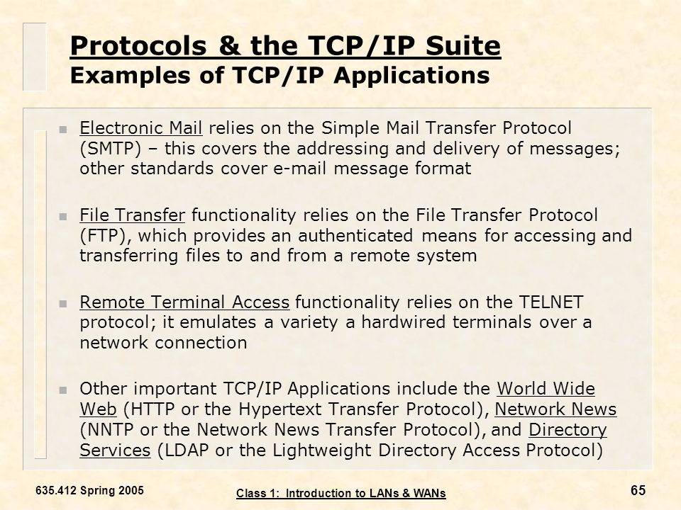 Protocols & the TCP/IP Suite Examples of TCP/IP Applications