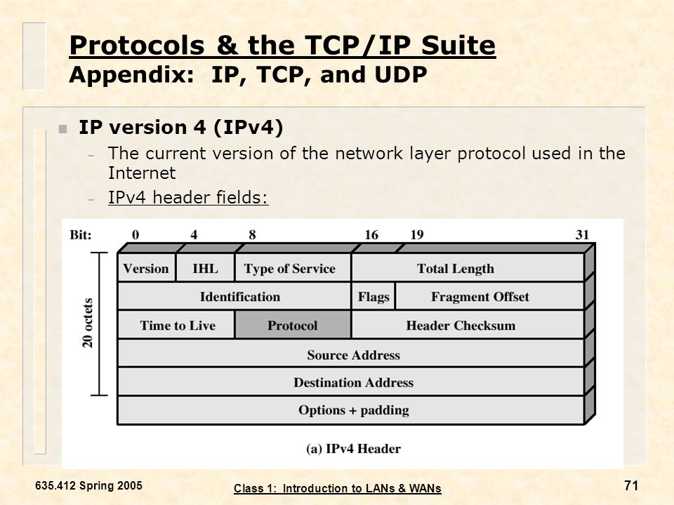Protocols & the TCP/IP Suite Appendix: IP, TCP, and UDP