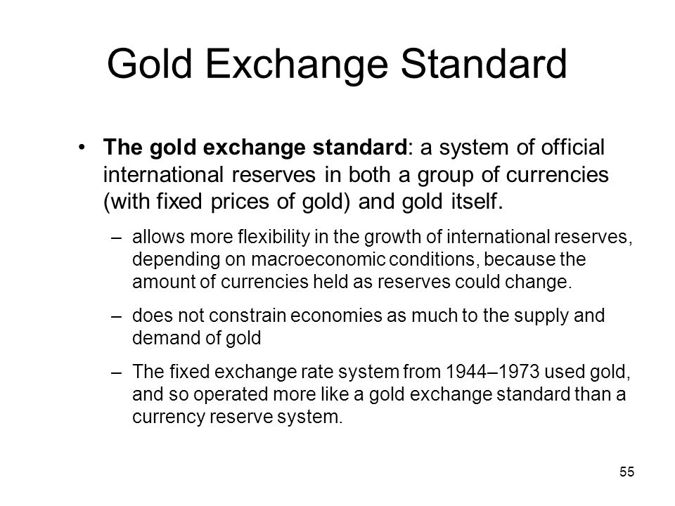 fixed exchange rate system of gold standard Remarks by governor ben s bernanke  of each currency was fixed in terms of gold implied that the rate of exchange between any two currencies within the gold standard system was likewise.