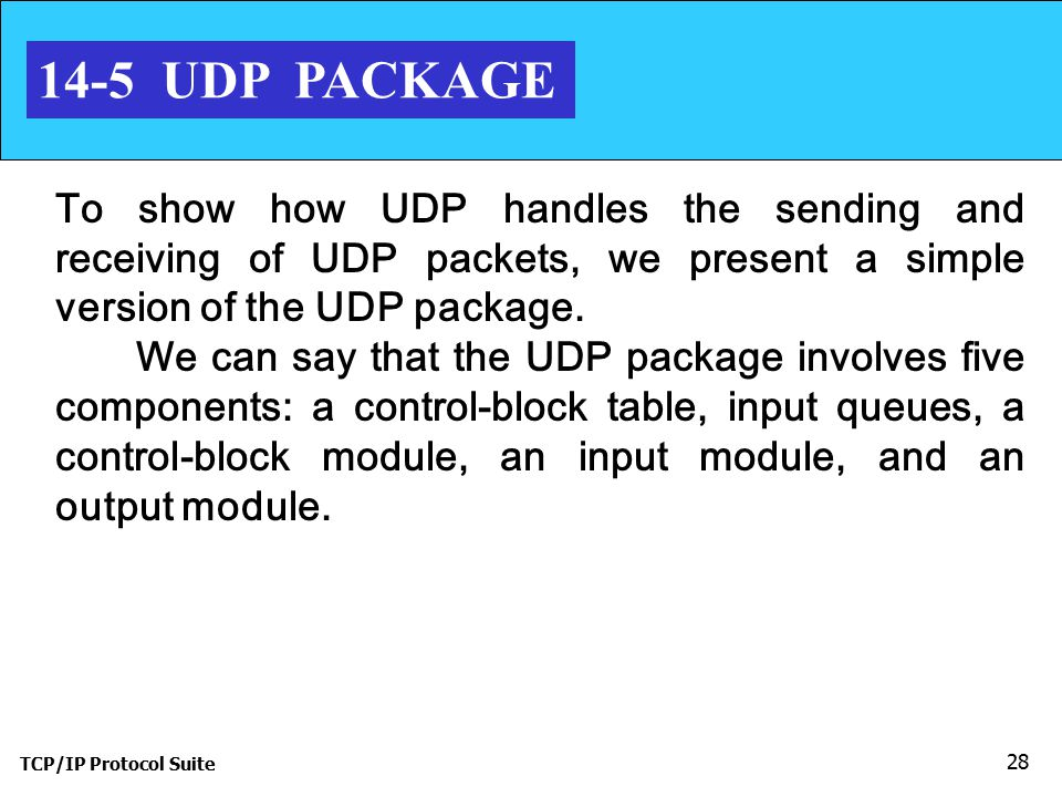 14-5 UDP PACKAGE To show how UDP handles the sending and receiving of UDP packets, we present a simple version of the UDP package.