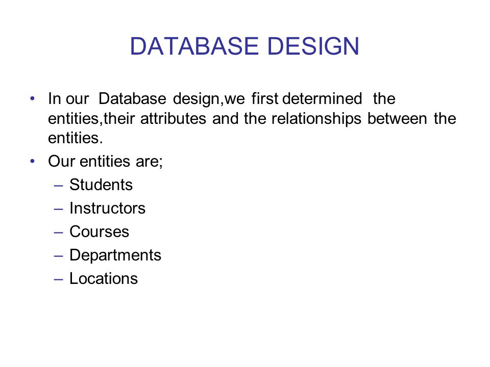 DATABASE DESIGN In our Database design,we first determined the entities,their attributes and the relationships between the entities.