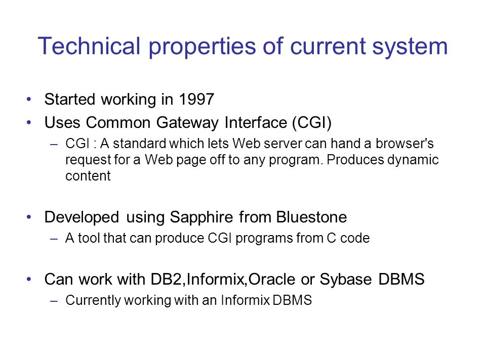 Technical properties of current system